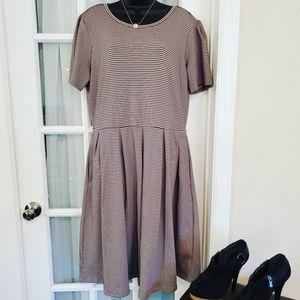 PLUS Size LulaRoe Pinstripe Short Sleeve Dress